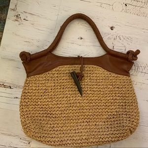 Foley & Corinna natural straw and leather tote